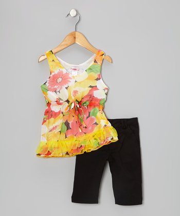 Yellow Floral Tunic & Black Leggings - Toddler & Girls
