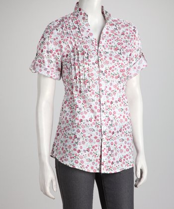Pink Floral Tie-Back Button-Up