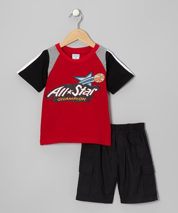Red 'All Star' Tee & Black Shorts - Toddler & Boys