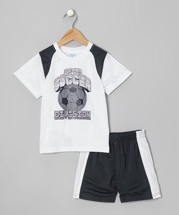White 'Soccer' Tee & Black Shorts - Toddler & Boys