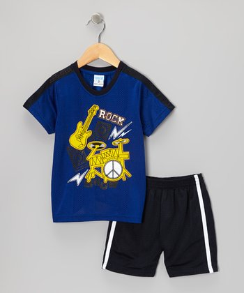 Blue 'Rock' Tee & Shorts - Toddler & Boys