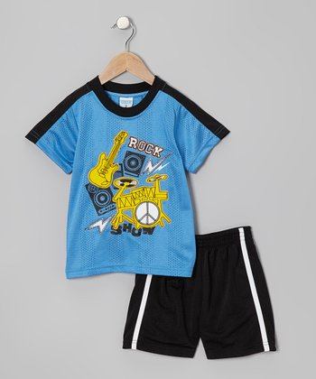 Blue 'Rock' Tee & Black Shorts - Toddler & Boys