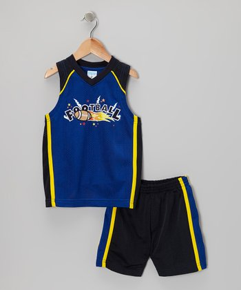 Blue 'Football' Tank & Shorts - Toddler & Boys