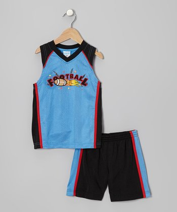 Blue & Black 'Football' Tank & Shorts - Toddler & Boys