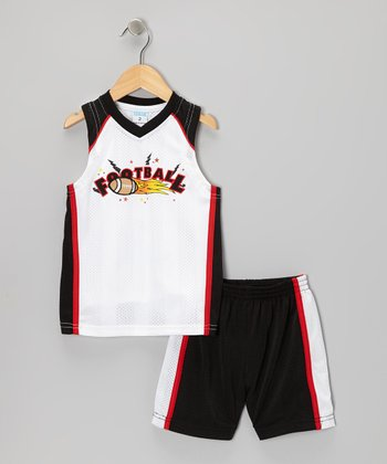 White 'Football' Tank & Shorts - Toddler & Boys