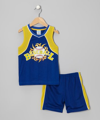 Royal Blue & Yellow 'Baseball' Tank & Shorts - Toddler & Boys