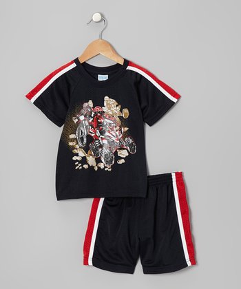 Black & Red Quad Cycle Top & Shorts - Toddler & Boys