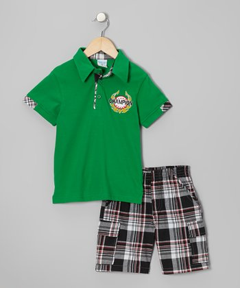 Green 'Champion' Polo & Black Plaid Shorts - Toddler & Boys