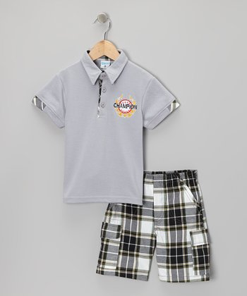 Gray 'Champion' Polo & Shorts - Toddler & Boys