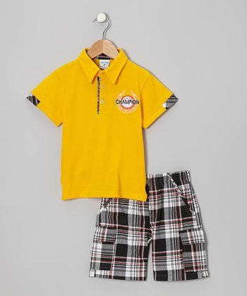 Yellow 'Champion' Polo & Black Plaid Shorts - Toddler & Boys