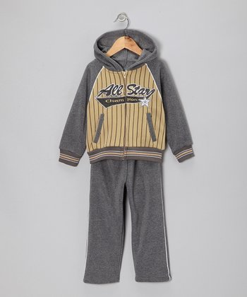 Gray & Tan 'All-Star' Zip-Up Hoodie & Pants - Toddler & Boys