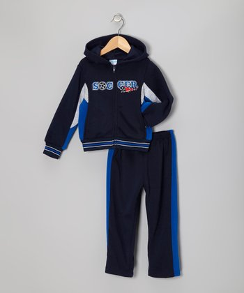 Blue 'Soccer' Zip-Up Hoodie & Pants - Toddler & Boys