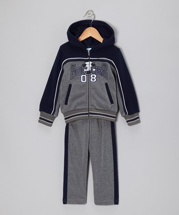 Gray & Blue 'Soccer' Zip-Up Hoodie & Pants - Toddler & Boys