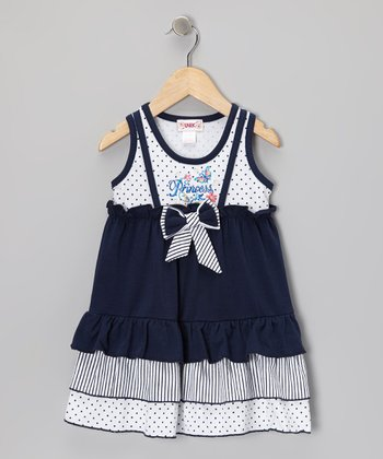 Navy 'Princess' Ruffle Dress - Toddler & Girls