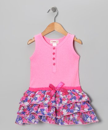 Light Pink Floral Ruffle Dress - Toddler & Girls