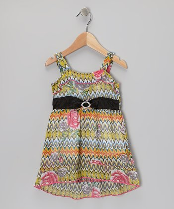 Coral & Gray Rose Dress - Toddler & Girls