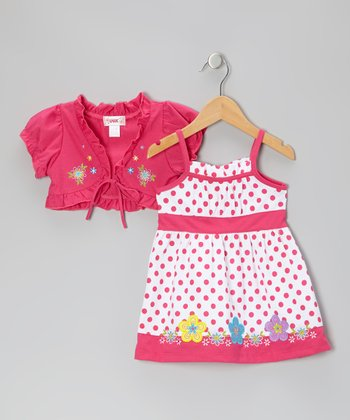 Pink Polka Dot Dress & Shrug - Toddler & Girls