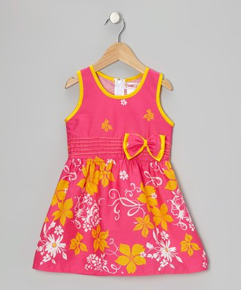 Pink Floral Bow Dress - Toddler & Girls
