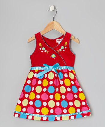 Red Polka Dot Surplice Dress - Toddler & Girls