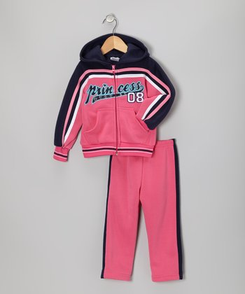 Pink & Blue 'Princess' Zip-Up Hoodie & Pants - Toddler & Girls