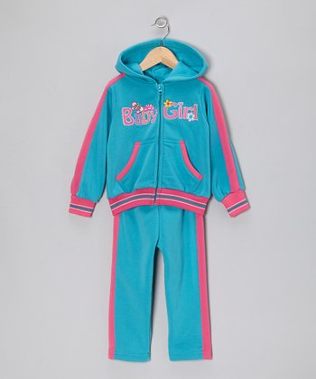 Blue 'Baby Girl' Zip-Up Hoodie & Pants - Toddler & Girls