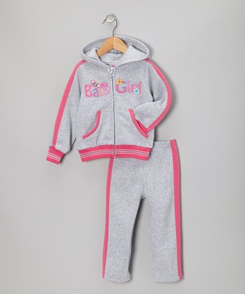 Gray 'Baby Girl' Zip-Up Hoodie & Pants - Toddler & Girls
