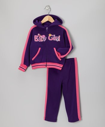 Purple 'Baby Girl' Zip-Up Hoodie & Pants - Toddler & Girls