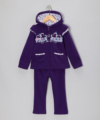 Purple 'Princess' Zip-Up Hoodie & Pants - Toddler & Girls