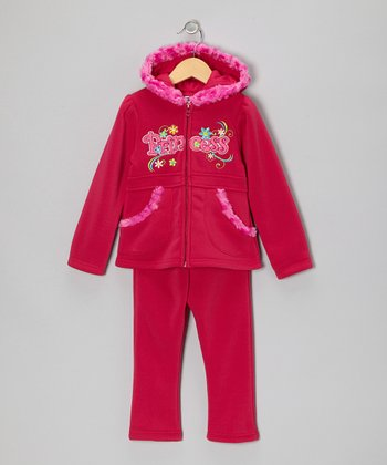 Pink 'Princess' Zip-Up Hoodie & Pants - Toddler & Girls