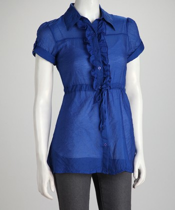 Blue Ruffle Short-Sleeve Button-Up