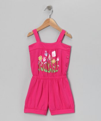 Pink Flower Patch Romper - Toddler & Girls
