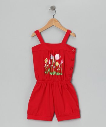 Red Flower Patch Romper - Toddler & Girls