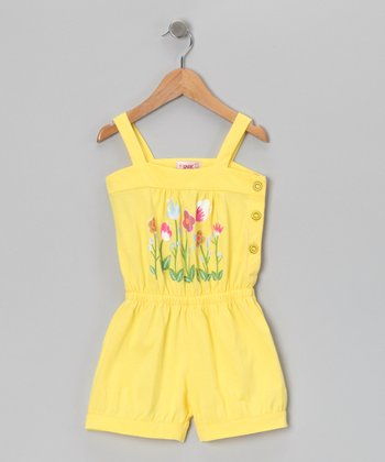 Yellow Flower Patch Romper - Toddler & Girls