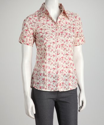 Rose & Off-White Floral Short-Sleeve Button-Up