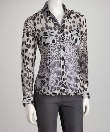 Black & White Jungle Cat Button-Up