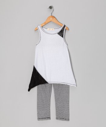Black & White Pin Dot Tunic & Leggings - Toddler & Girls