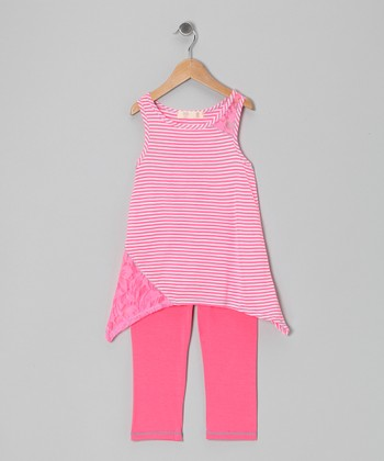 Pink & White Stripe Sidetail Tunic & Leggings - Toddler & Girls
