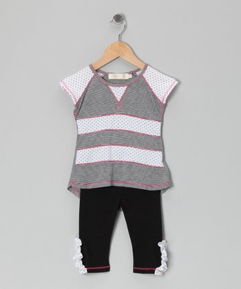 Gray & White Stripe Raglan Top & Leggings - Toddler & Girls