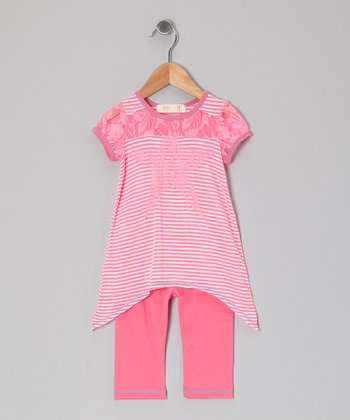Pink & White Lace Sidetail Tunic & Leggings - Toddler