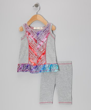 Gray & Red Rainbow Tie-Dye Tunic & Leggings - Infant