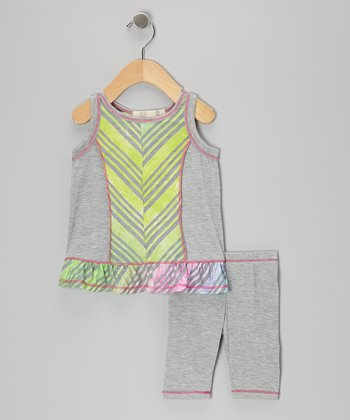 Gray & Yellow Rainbow Tie-Dye Tunic & Leggings - Infant