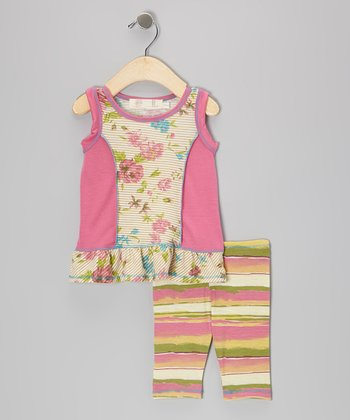Pink Floral Ruffle Tunic & Stripe Leggings - Infant