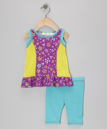 Purple Floral Ruffle Tunic & Turquoise Leggings - Infant