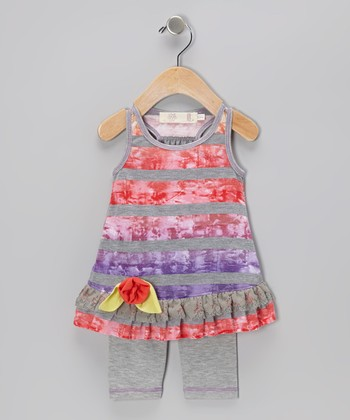 Gray & Red Rainbow Tie-Dye Ruffle Tunic & Leggings - Infant