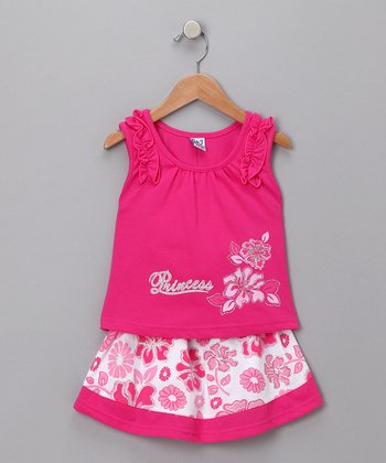 Fuchsia Hawaiian Tank & Skirt
