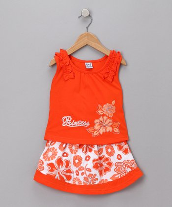 Orange Hawaiian Tank & Skirt