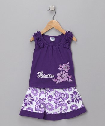 Purple Hawaiian Tank & Skirt