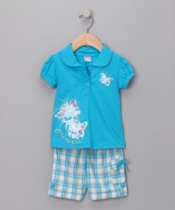 G&J Relations Blue Butterfly Polo & Plaid Capri Pants