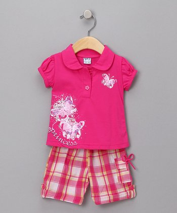 Fuchsia Butterfly Polo & Plaid Capri Pants