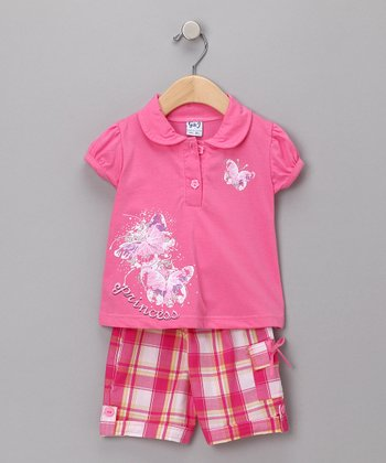 Pink Butterfly Polo & Capri Pants